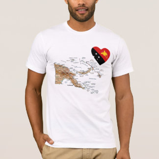 Papua New Guinea Flag Heart and Map T-Shirt