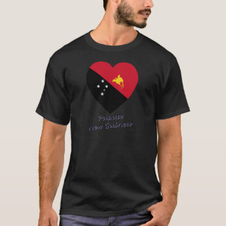 Papua New Guinea Flag Heart T-Shirt