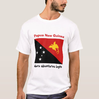 Papua New Guinea Flag + Map + Text T-Shirt