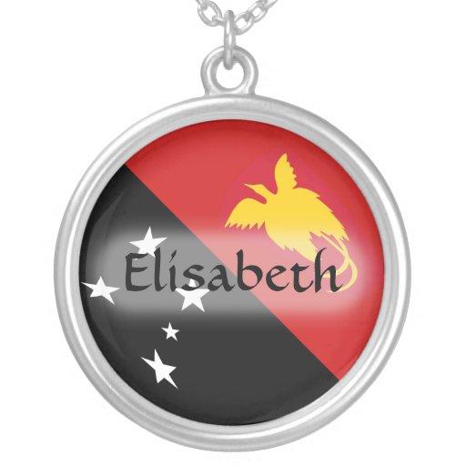 Papua New Guinea Flag + Name Necklace
