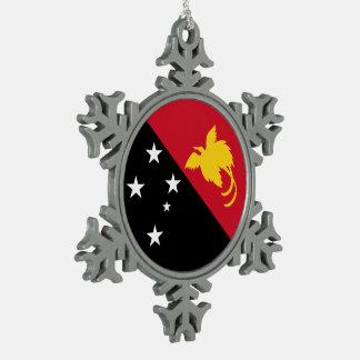 Papua New Guinea Flag Snowflake Pewter Christmas Ornament