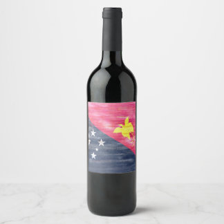 Papua New Guinea flag Wine Label