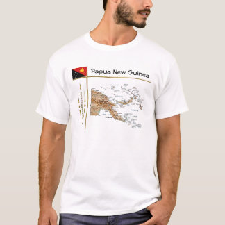 Papua New Guinea Map + Flag + Title T-Shirt