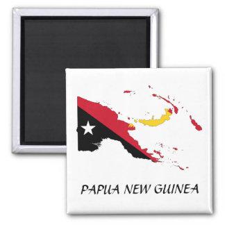 Papua NewGuine Flag Map Square Magnet
