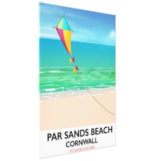 Par Sands Beach Cornwall beach travel poster Canvas Print