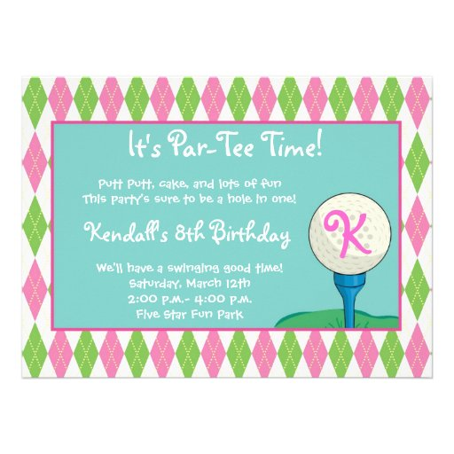 Par-Tee Time Girl Personalized Announcement
