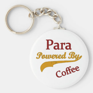 Para Powered By Coffee Basic Round Button Key Ring
