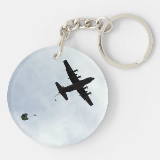 Parachute Drop EC-130H Compass Call Double-Sided Round Acrylic Key Ring
