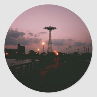 Parachute Jump, Coney Island at Sunset Classic Round Sticker
