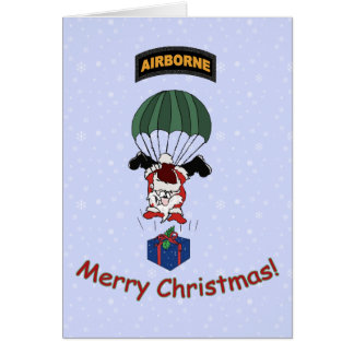 Parachuting Santa Card