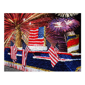 Parade with Statue of Liberty Float and Flag Post Card