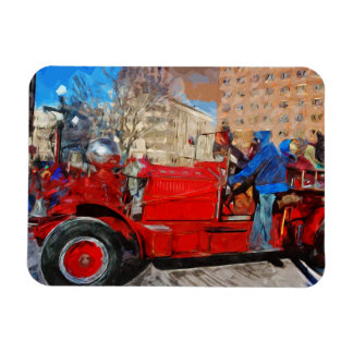Parading Antique Fire Truck Abstract Impressionism Rectangular Photo Magnet