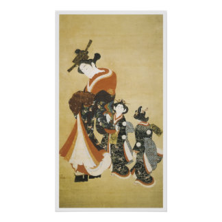 Parading Courtesan with Attendants, Style of Morom Poster