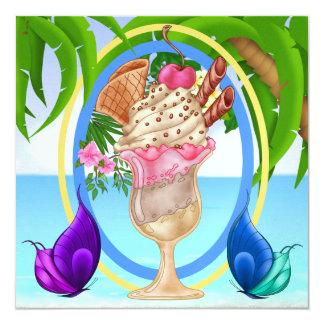 "Paradise Beach Ice Cream 5.25"" Square Invitation Card"