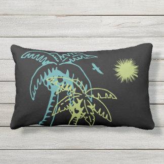 Paradise Beach Palm Tree Sun & Cranes Green Black Outdoor Cushion