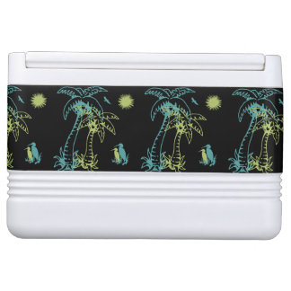 Paradise Beach Palm Tree Sun & Cranes Green Retro Cooler