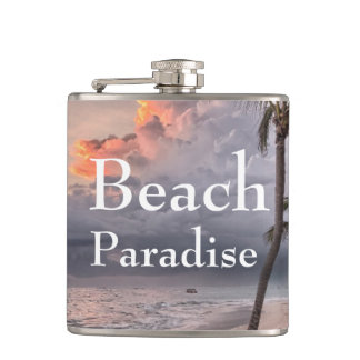 Paradise beach water hip flask