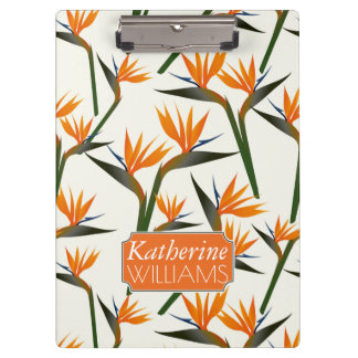 Paradise Bird Flower Pattern | Add Your Name Clipboards
