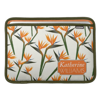 Paradise Bird Flower Pattern | Add Your Name Sleeves For MacBook Air