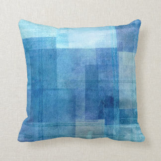 'Paradise' Blue Abstract Pillow