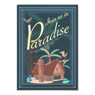 "Paradise Blue Hawaii Margarita Party Invitation 5"" X 7"" Invitation Card"