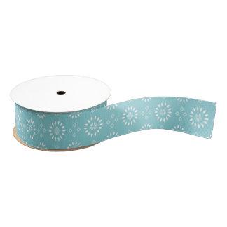 Paradise Blue & White Floral Motif Ribbon Grosgrain Ribbon