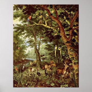 Paradise by Jan Brueghel the Elder Poster