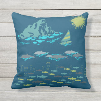 Paradise Dolphins Fish Windsurfer Sun Green Retro Outdoor Cushion