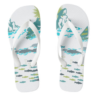 Paradise Dolphins Fish Windsurfer Sun Green Retro Thongs