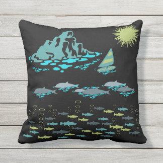 Paradise Dolphins Fish Windsurfer Sun Green Retro Throw Pillow