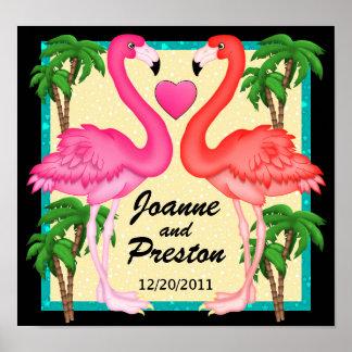 Paradise Flamingo Love Poster