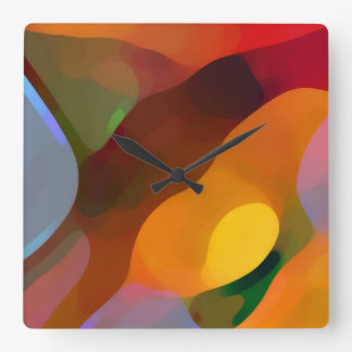 Paradise Found Abstract Art Square Wall Clock
