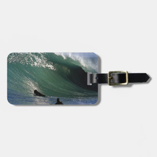 Paradise green surfing wave New Zealand Bag Tag