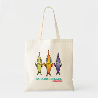 Paradise Island Bahamas 3-Fishes Tote Bag