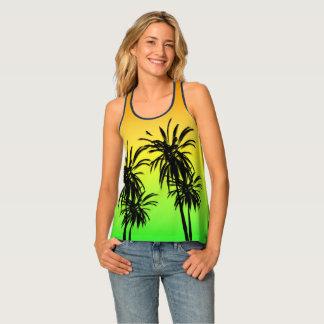 Paradise Island Tropical Palm Trees Sunset Retro Singlet