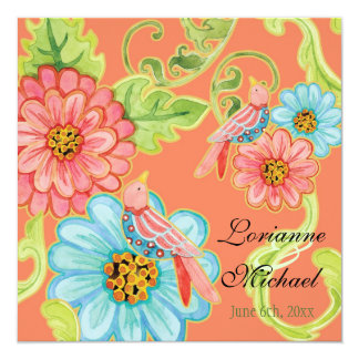 Paradise Love Birds 3, Floral Modern Wedding Card