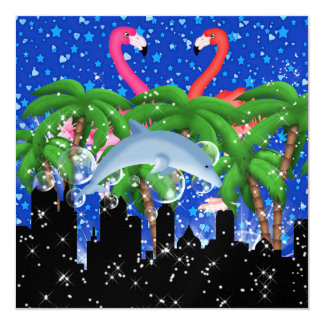 """Paradise Party in Style Bright Lights - SRF 5.25"""" Square Invitation Card"""