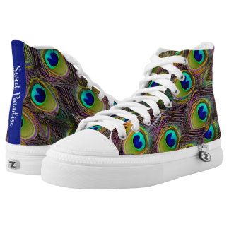 Paradise peacock feathers in beautiful colours high tops