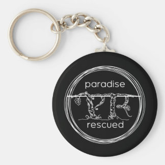 Paradise Rescued Logo on black Key Ring