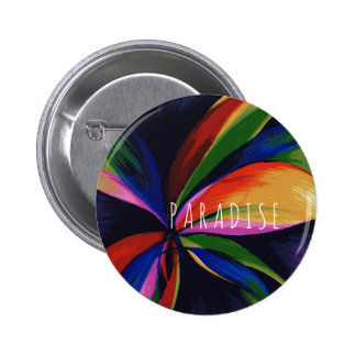 Paradise Tropical Rainbow Abstract Flower Art 6 Cm Round Badge