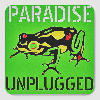 PARADISE UNPLUGGED - BIG ISLAND, HAWAII SQUARE STICKER