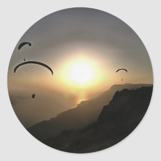 Paragliders Flying Without Wings Classic Round Sticker