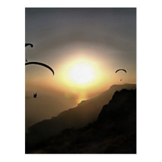 Paragliders Flying Without Wings Postcard