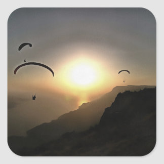 Paragliders Flying Without Wings Square Sticker