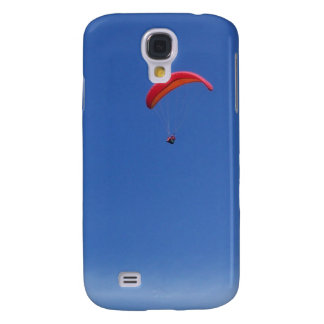 Paragliding in Blue Sky with Red Wing Galaxy S4 Cases