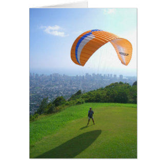 Paragliding over Honolulu Card