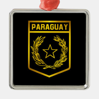 Paraguay Emblem Silver-Colored Square Decoration
