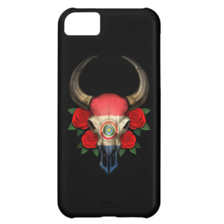 Paraguay Flag Bull Skull with Red Roses Case For iPhone 5C