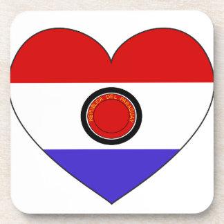 Paraguay Flag Heart Coaster
