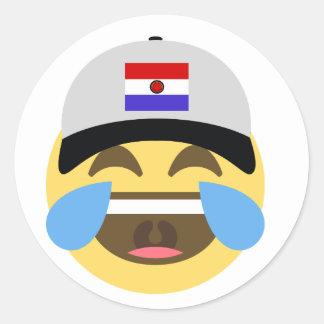 Paraguay Hat Laughing Emoji Classic Round Sticker